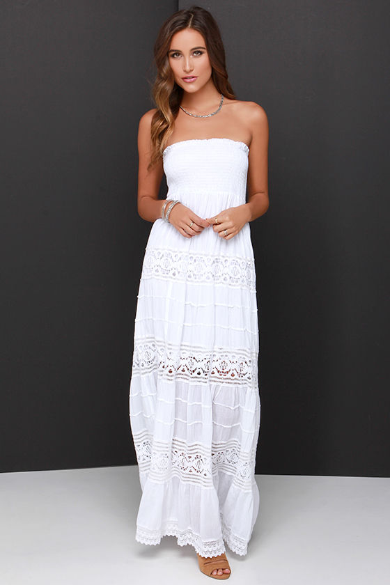 Ivory Crochet Dress - Strapless White Dress - Ivory Maxi Dress ...