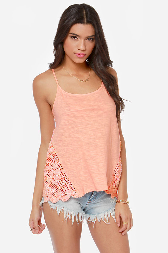 Roxy Follow Me Crochet Coral Tank Top at Lulus.com!