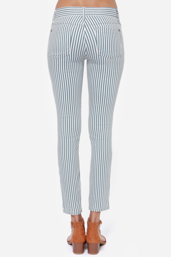 Cara Blue and Ivory Striped Skinny Jeans at Lulus.com!