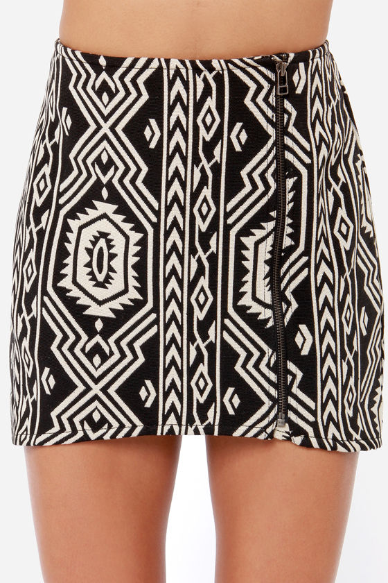 Mink Pink Pardon My Freedom Black Southwest Print Skirt at Lulus.com!