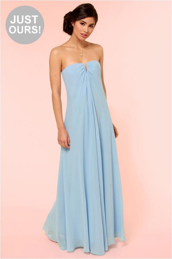 Beautiful Light Blue Dress - Bridesmaid Dress - Strapless Dress ...