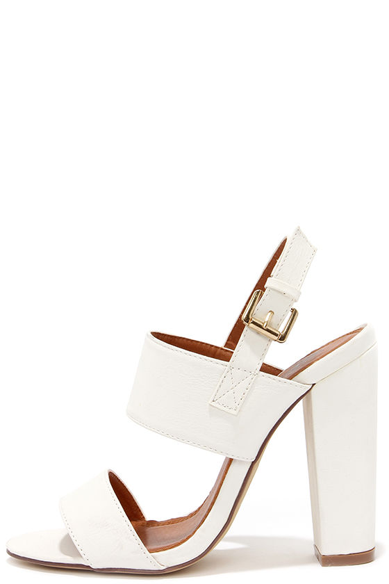 Cute White Heels - High Heel Sandals - $32.00