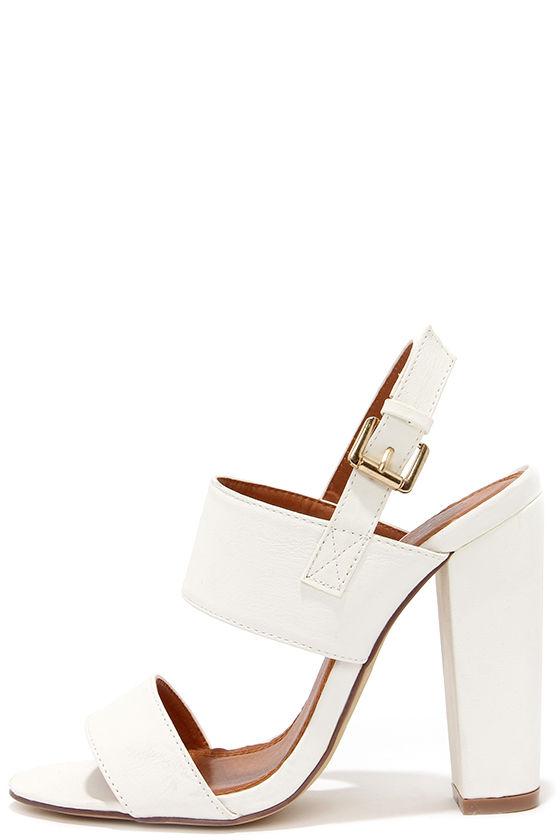 Cute White Heels - High Heel Sandals - $32.00