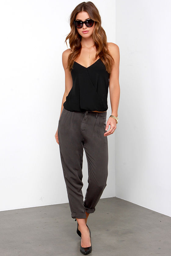 Washed Black Trouser Pants - Relaxed Trousers - $63.00
