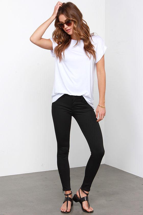 Black Skinny Jeans - Ankle Zipper Jeans - Black Pants - $74.00