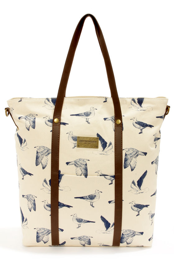 Obey Nantucket Cream Seagull Print Tote at Lulus.com!