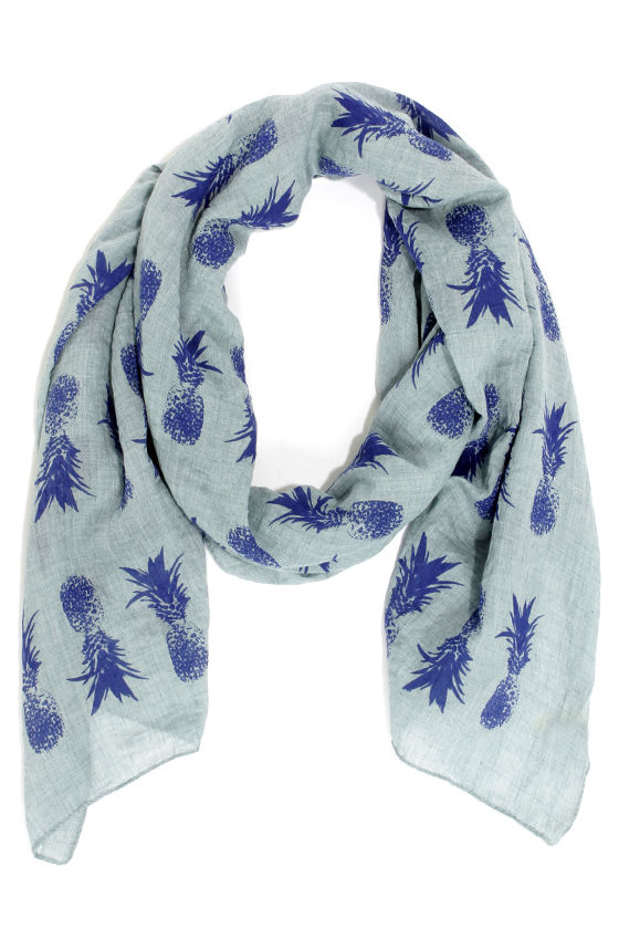 Pineapple a Day Blue Print Scarf at Lulus.com!