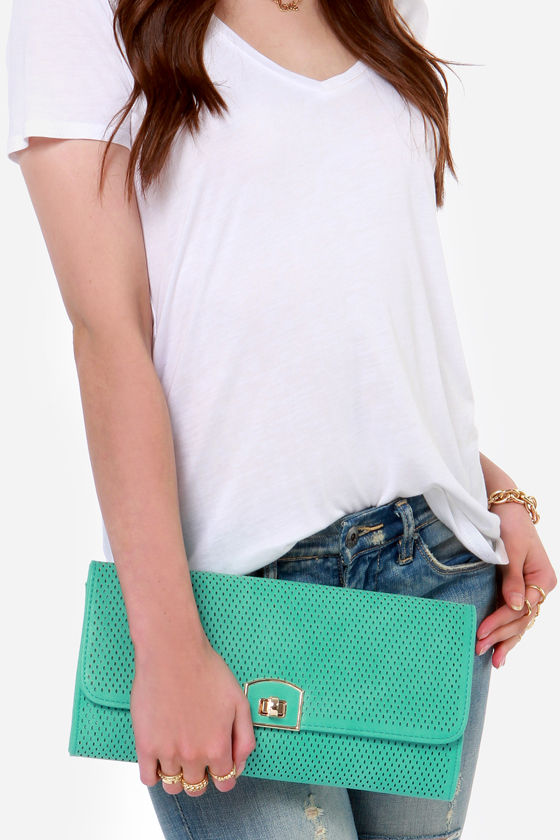 All For You Cutout Teal Green Clutch by Urban Expressions at Lulus.com!