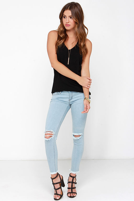 Light Wash Jeans - Distressed Skinny Jeans - Ankle Skinny Jeans ...