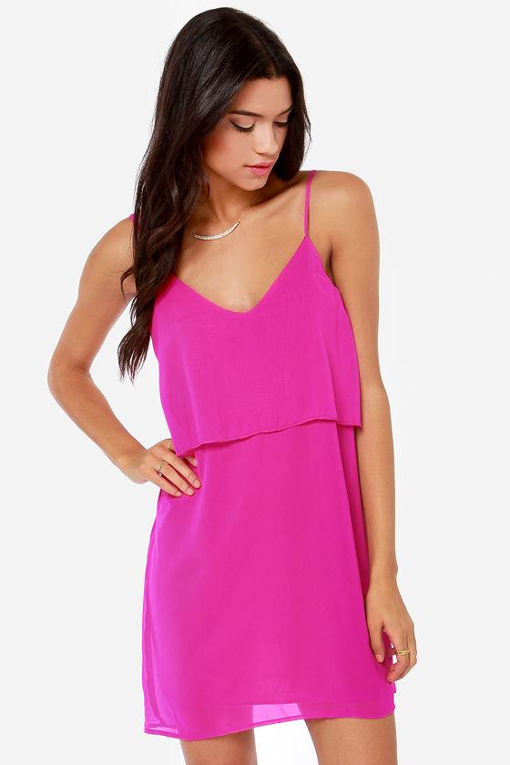 Cute Magenta Dress - Tiered Dress - Shift Dress - Pink Dress - $39.00