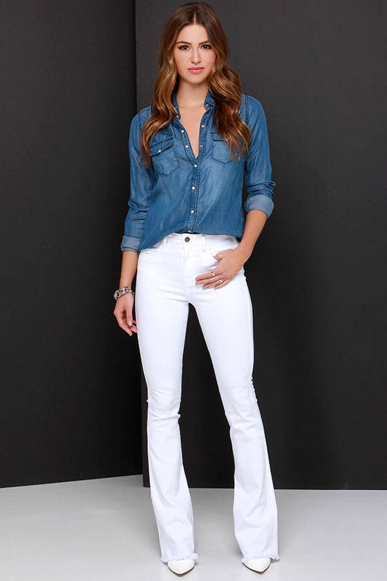 White Flare Jeans - White Denim Pants - White Jeans - $95.00