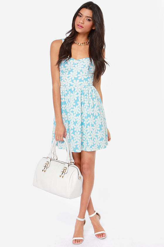 Flower Trip Ivory and Blue Floral Print Dress at Lulus.com!