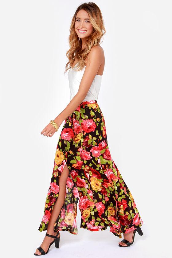 00407a5941bb32 Beautiful Floral Print Skirt - Black Skirt - Maxi Skirt - $46.00