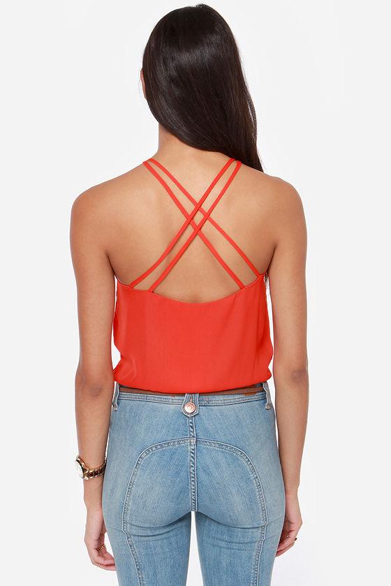 Cross My Mind Orange Bodysuit at Lulus.com!