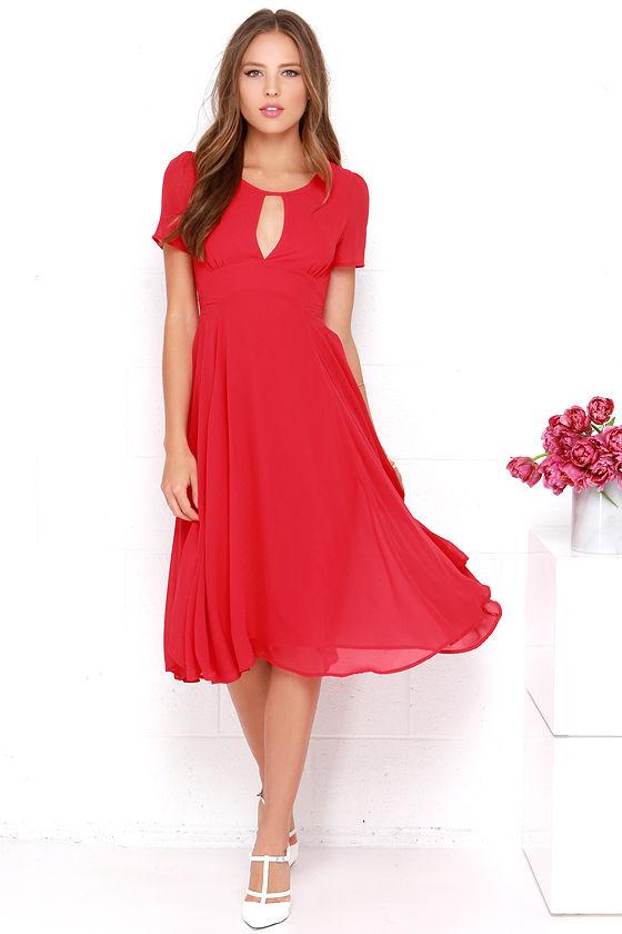 2682ed2d91 Red Dress - Midi Dress - Short Sleeve Dress -  64.00