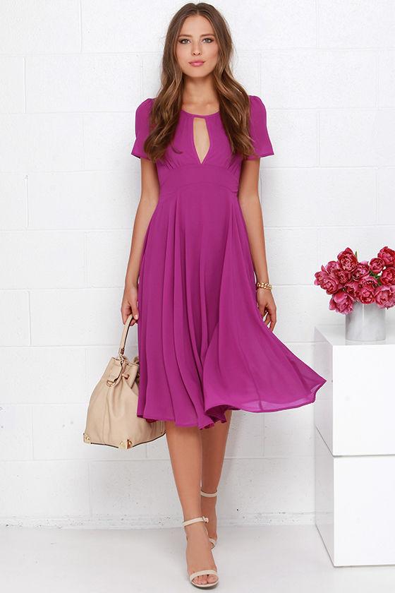 b752a5e2ce Purple Dress - Midi Dress - Short Sleeve Dress -  64.00