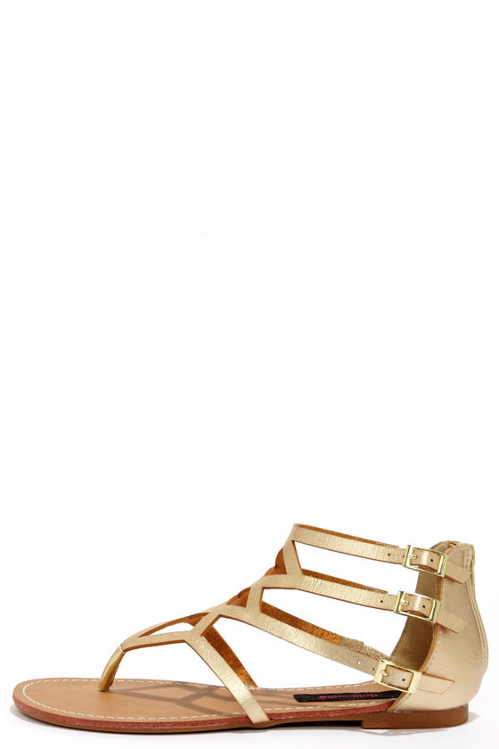 bcae3ff46 Cute Gold Sandals - Gladiator Sandals - Thong Sandals -  28.00