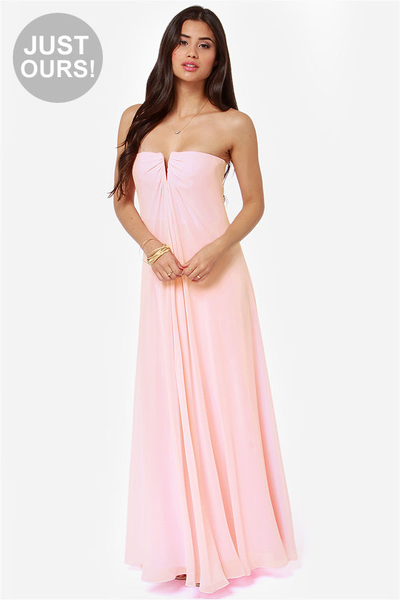 cb3bd778ceb Beautiful Light Pink Dress - Bridesmaid Dress - Strapless Dress ...