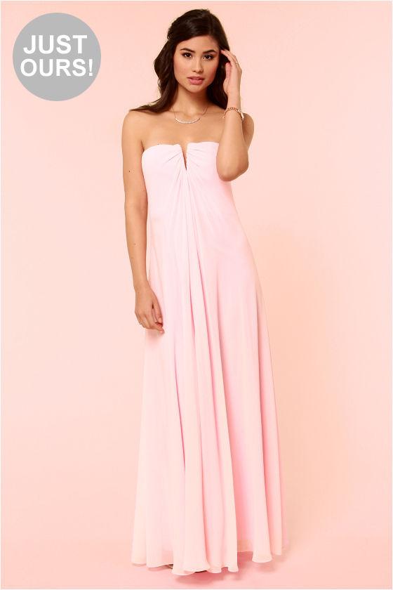 Beautiful Light Pink Dress - Bridesmaid Dress - Strapless Dress ...