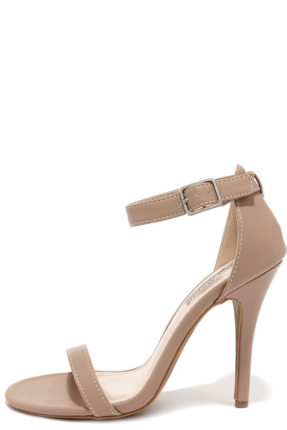 Cute Nude Heels - Single Strap Heels - Dress Sandals - $26.00
