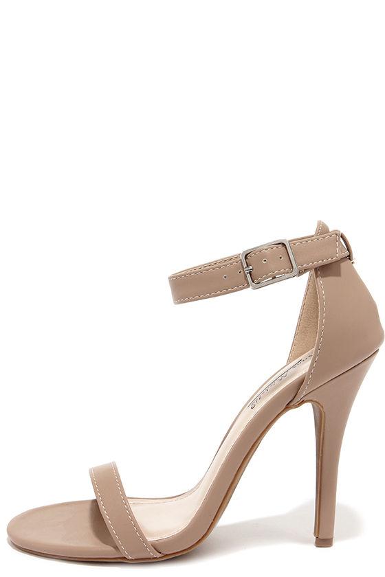 a0949698c379b3 Cute Nude Heels - Single Strap Heels - Dress Sandals -  26.00