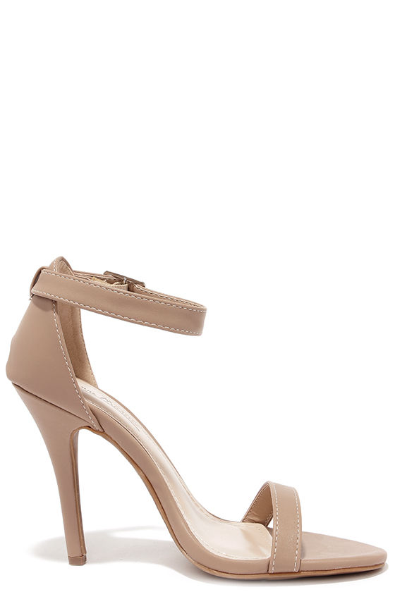 Cute Nude Heels - Single Strap Heels - Dress Sandals - $26.00