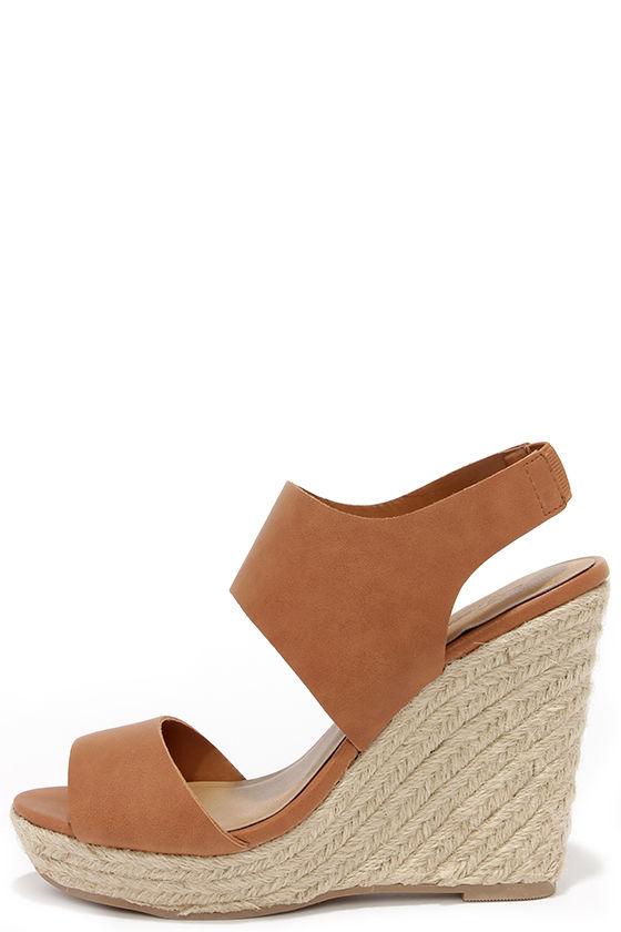 03439917127d Cute Tan Wedges - Espadrille Wedges - Wedge Sandals -  30.00
