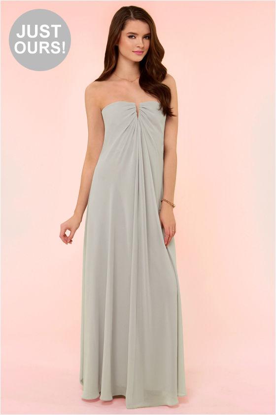 Beautiful Light Grey Dress - Bridesmaid Dress - Strapless Dress ...