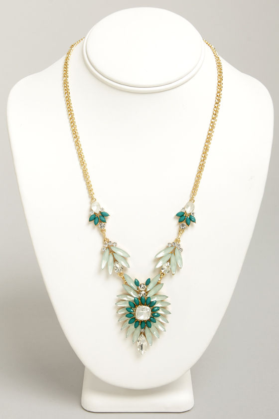 Carried Array Ice Mint Rhinestone Necklace at Lulus.com!