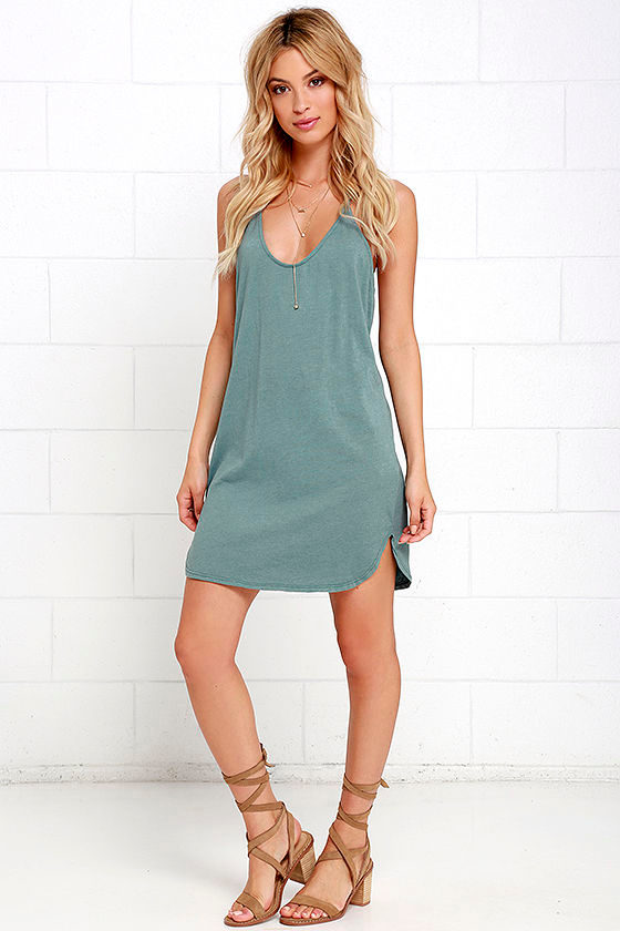 a61a5a55e4d Casual Washed Green Dress - T-Back Dress