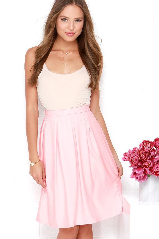 132c7e8c2f78 Lovely Light Pink Skirt - Midi Skirt - Pleated Skirt - High-Waisted Skirt -  $48.00