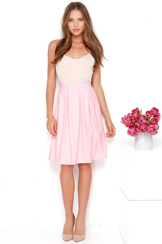 Lovely Light Pink Skirt - Midi Skirt - Pleated Skirt - High ...