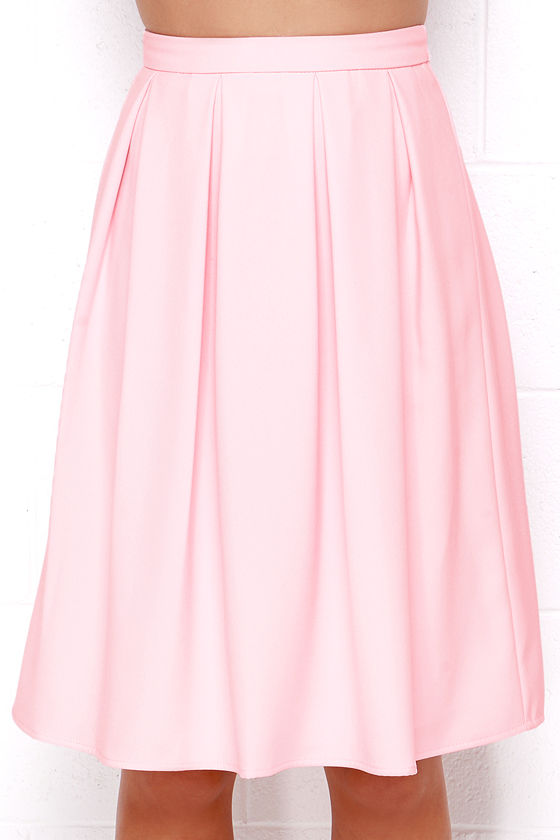 Lovely Light Pink Skirt - Midi Skirt - Pleated Skirt - High ...