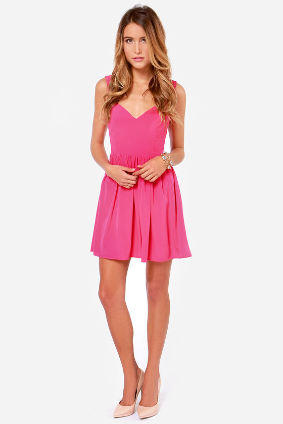 Tie by Night Backless Fuchsia Dress at Lulus.com!