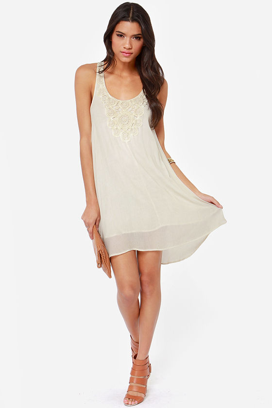 Black Swan Bloom Crochet Cream Dress at Lulus.com!