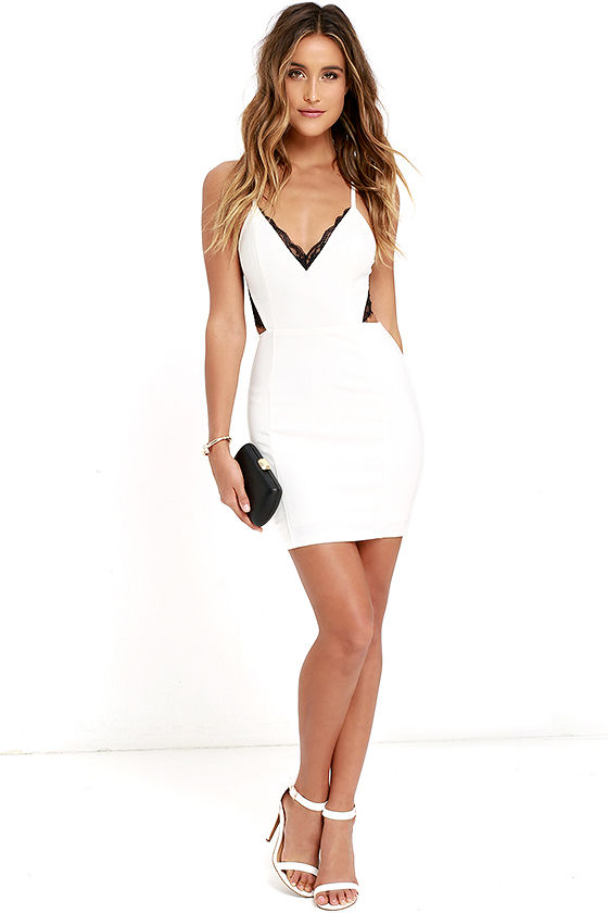 Heartbeat Song Black and Ivory Backless Lace Dress 2