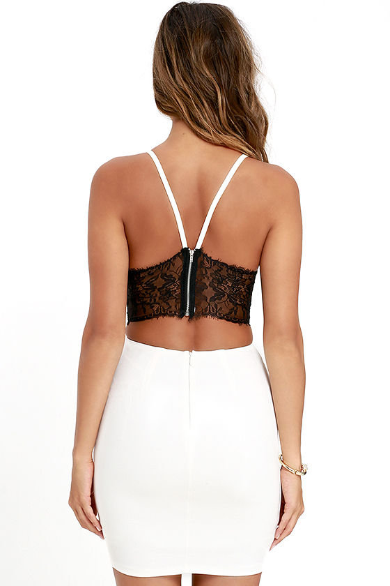 Heartbeat Song Black and Ivory Backless Lace Dress 4