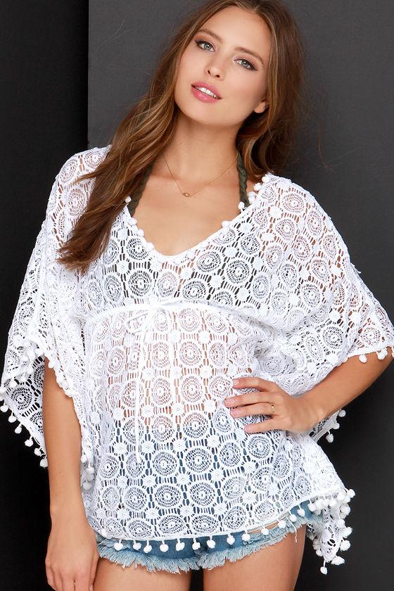 e25ba1125c5fa Ivory Crochet Cover-Up - White Crochet Top - $58.00