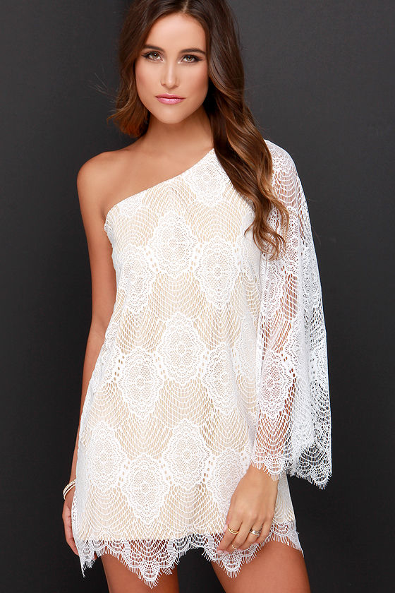 Ivory One Shoulder Cocktail Dress