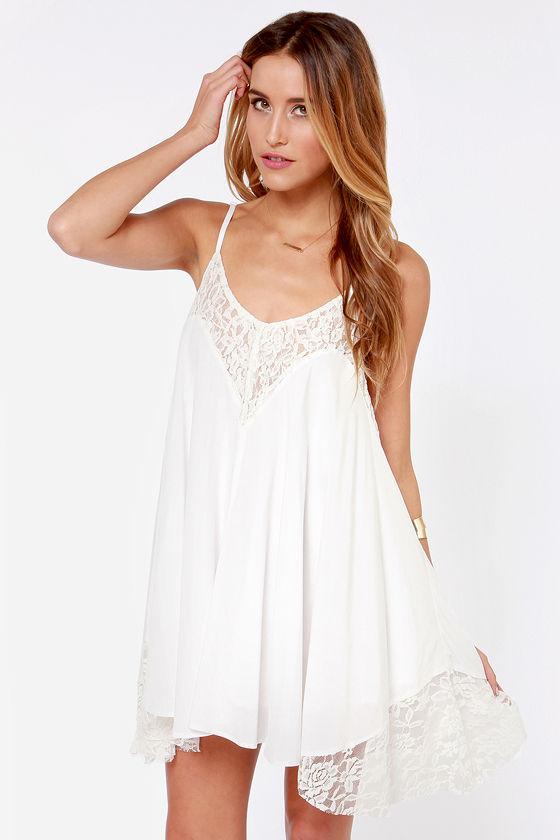 Sexy Ivory Dress - Babydoll Dress - Lace Dress - White Dress - $46.00