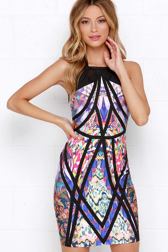 Bright Bodycon Dress - Black Multi-Print Dress - $108.00