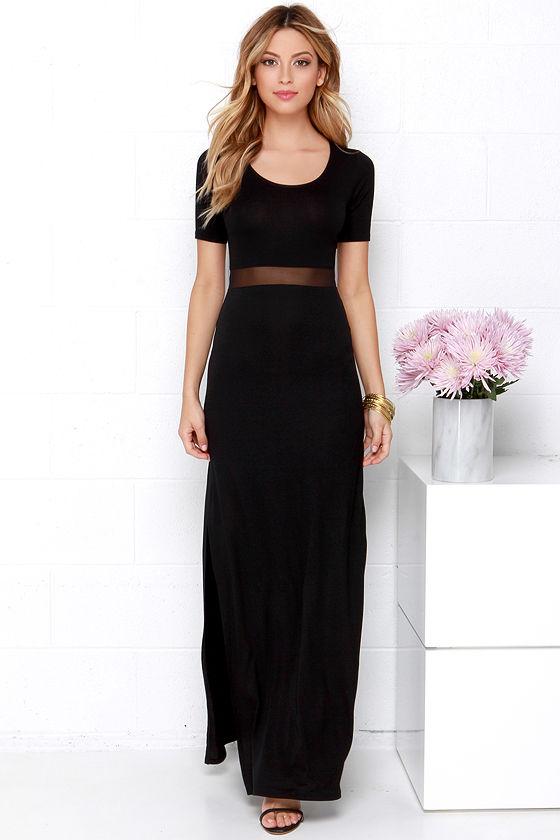 Sexy Black Dress - Maxi Dress - Mesh Dress - $48.00