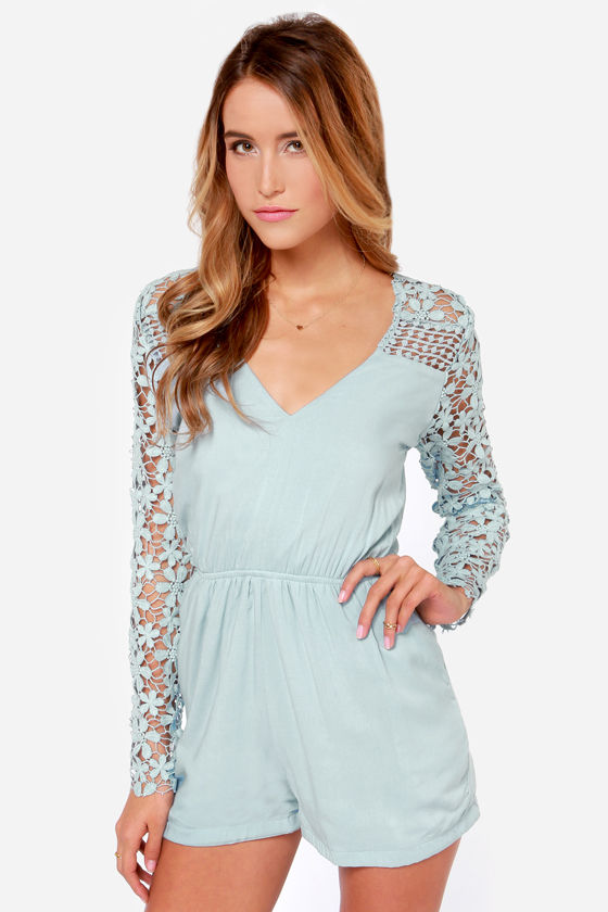 Crochet What? Light Blue Crocheted Romper at Lulus.com!
