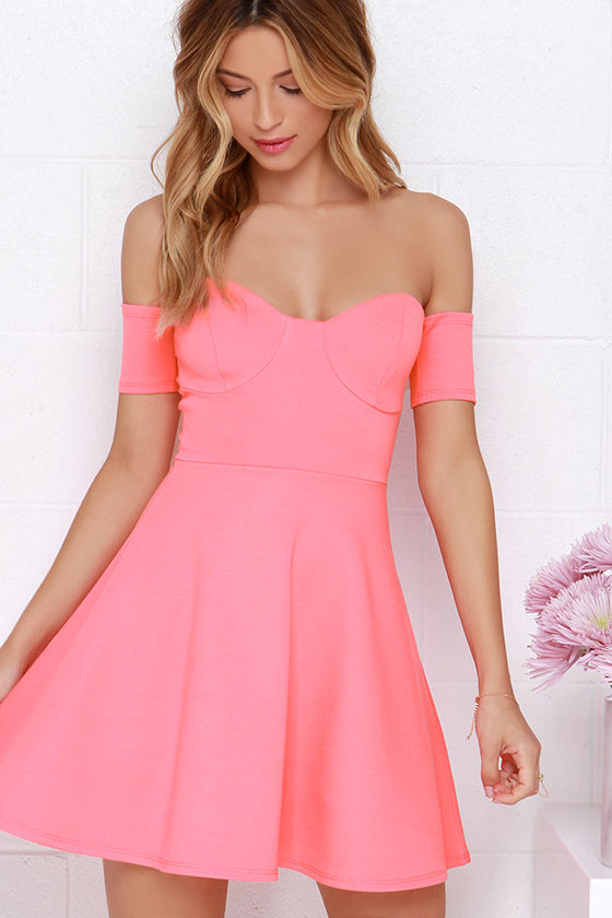 Cute Off-the-Shoulder Dress - Coral Pink Dress - Skater Dress - $44.00
