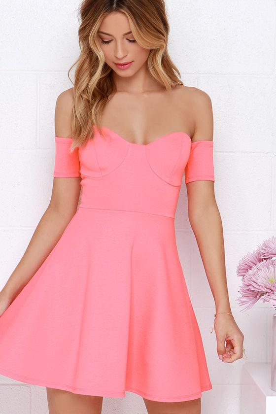 36449ba89f30 Cute Off-the-Shoulder Dress - Coral Pink Dress - Skater Dress - $44.00