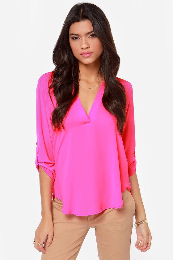 0d6f927293ce0 Cute Hot Pink Top - Pink Top - V Neck Top -  37.00