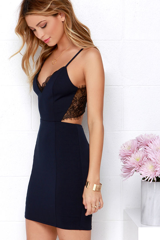 Heartbeat Song Black and Navy Blue Backless Lace Dress