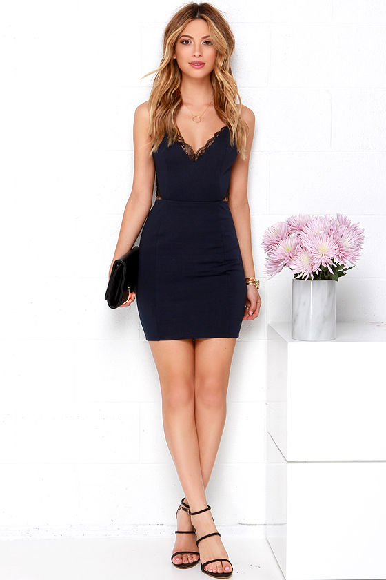 Heartbeat Song Black and Navy Blue Backless Lace Dress 2