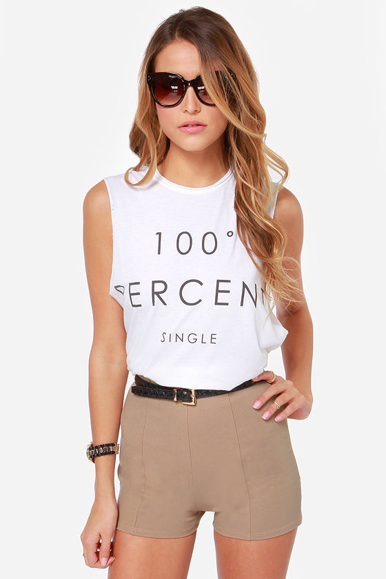 Sexy Beige Shorts - High-Waisted Shorts - Hot Pants - $34.00