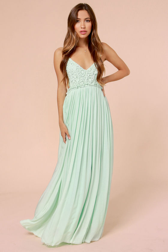 Crochet Maxi Dress : Pretty Mint Dress - Crochet Dress - Maxi Dress - Lace Dress - $54.00